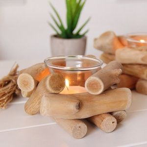 Other - Rustic Farmhouse Campfire Wood Log Candle Holder